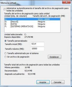 aumentando memoria virtual en windows