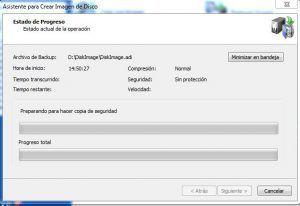 realizando la copia de seguridad con disk image