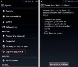 Restablecer a Fabrica Movil Android