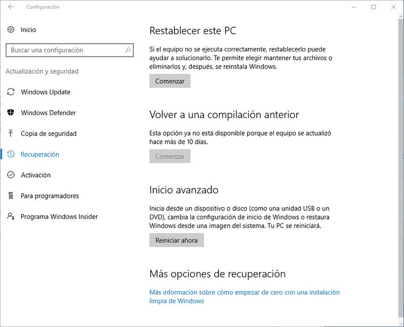 configuracion actualizacion