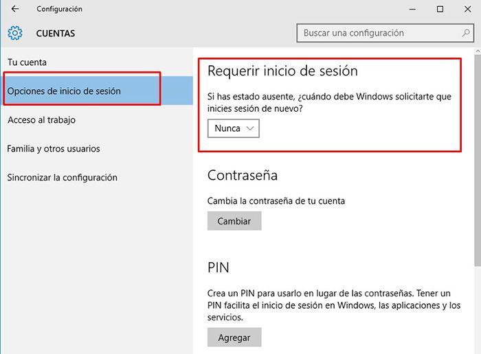 eliminar contraseña windows 10