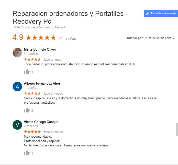 Reseñas de google RecoveryPC