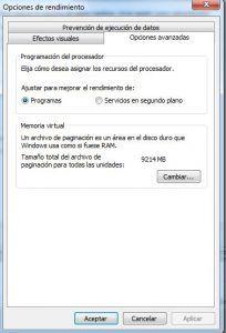 opciones de rendimiento windows y opciones avanzandas