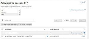 FTP ver datos de acceso