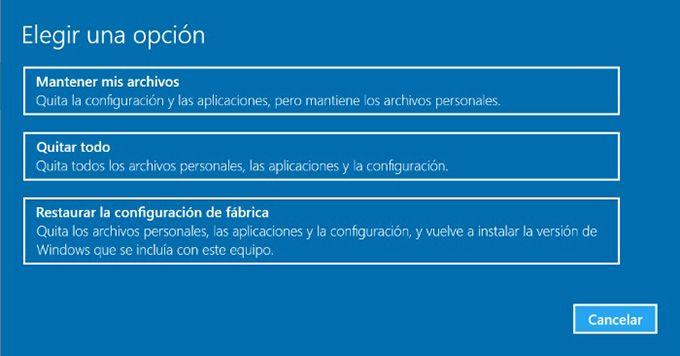 opciones restaurar windows