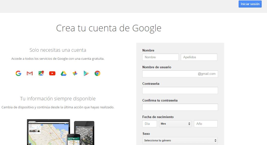 formulario de registro de gmail
