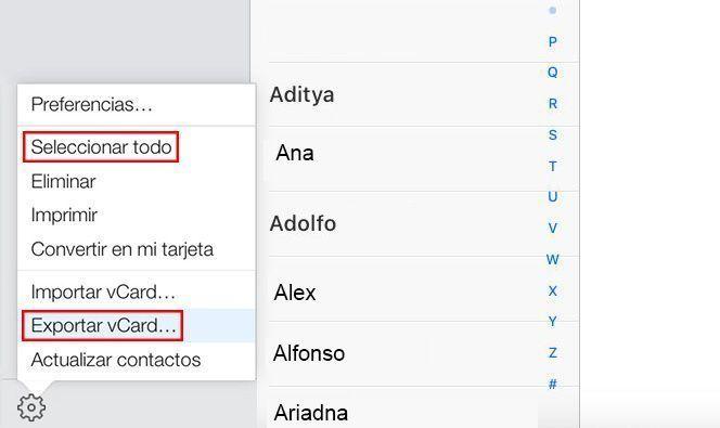 exportar contactos iphone