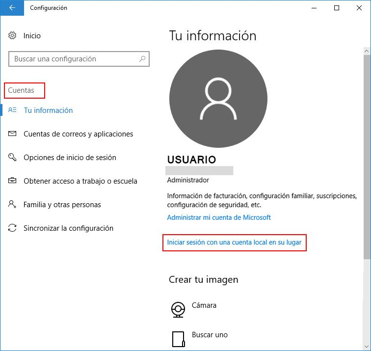 usuario windows 10